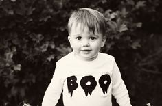 boo -  halloween shirt for baby toddler kids - handmade by noah and lilah. $20.00, via Etsy.