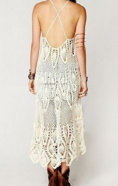 White Back Hollow-out Spaghetti Straps High Low Lace Dress