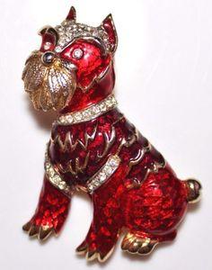 Vintage-KRAMER-Red-Enamel-Rhinestone-Figural-Dog-Brooch