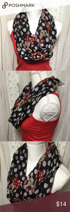 Disney Minnie Mouse B&W Polkadotted infinity scarf NWT Minnie mouse infinity scarf. Black with polkadots and Minnie mouse's face making a few different expressions.  100% polyester  It has a very small run, not noticeable see photos. ❤️This is the perfect scarf for any Minnie Mouse Or Disney fan! Thanks for visiting my closet feel free to look around!🤗 Accessories Scarves & Wraps