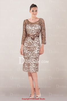 Scoop Neckline 34 length Sleeve Zipper Back Knee Length Mother of the Bride Dress in Appliqued Lace Overlay