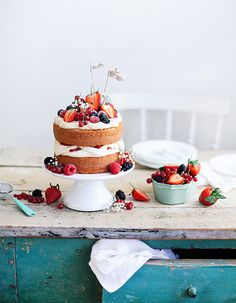 Berry mascarpone cake with pretty fruit.