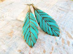 boho Leaf earrings turquoise mint Bohemian by Gypsymoondesigns