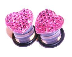 00g 10mm Pink Rhinestone Heart Plugs Cute Gauges by PlugsforGirls, $17.99