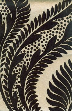 Dryden Flock Wallpaper Large scale damask flock in chocolate on beige mica background