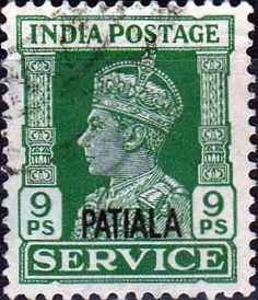 India 1940 King George V Service Stamps Overprint Patiala SG O74 Fine Used SG O74 Scott O66 Other Commonwealth Stamps here