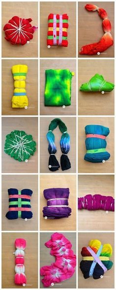 Wow! Look at all these ways to make those cool patterns on your tie dye projects! Dye Folding Techniques - 16 different ways to tie dye!