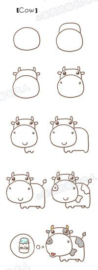 Step by step drawing : learn to draw a cow / Dessins étapes par étapes : Apprendre à dessiner une vache