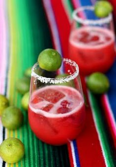 Raspberry & Key Lime Margarita   Makes 4 cocktails  1 pint fresh raspberries (or about 1 cup frozen)  1/2 cup lemon juice  1/3 cup Key lime juice (or 1/2 cup regular lime juice)  1 cup tequila (hefty, yes…if you alter this amount I won't be offended)    Combine the raspberries and citrus juices in a blender. Pulse until smooth. Use a fine mesh strainer and a spatula to press the raspberry mixture through into a bowl- this removes the seeds from the berries.  Add the tequila, pour into a p...