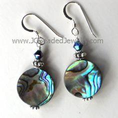 Glacier Blue Swarovski & Paua Shell Earrings #abalone #paua #earrings #jewelry
