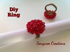 Cluster Ring _ Day 5 of 5 Day Marathon of Ring 💍 Diy Beaded Rings, Diy Rings, Beaded Earrings, Beaded Jewelry, Handmade Jewelry, Beaded Bracelets, Craft Jewelry, Pearl Bracelet, Crystal Earrings