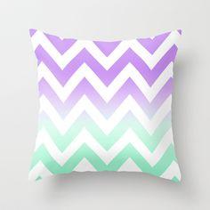 GREEN & PURPLE CHEVRON FADE Throw Pillow by n a t a l i e  - $20.00