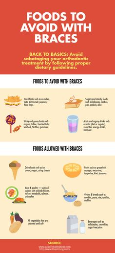 here are foods you should avoid and foods you can eat with braces on http