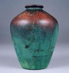 Clewell, Jar, Copper Clad, Green & Brown, 8 inch, 1906-1941