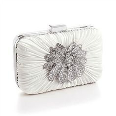 116e461ea9c2 Handbags and Bags 163551  Satin Rhinestone Bridal Prom Formal Clutch Purse  Wedding Handbag Ivory Or