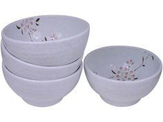Peach Cherry Blossom on White Porcelain Serving Bowl Set for Four