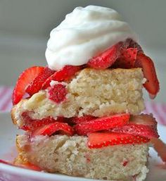 Strawberry Shortcake Cake      . The BakerMama bakes a scrumptious strawberry cake that's then filled and topped with more fresh strawberries and a dollop of whipp...