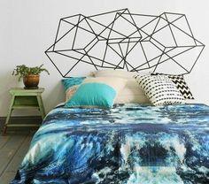 Floor bed and geometric wall art. Washi Tape Headboard, Washi Tape Wall, Masking Tape, Headboard Decor, Diy Headboards, Bedroom Decor, Painted Headboard, Bedroom Furniture, Faux Headboard