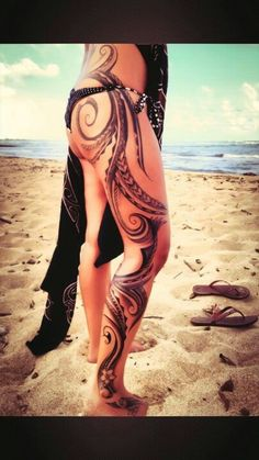 Tribal artwork on side of leg & body