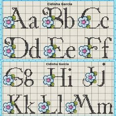 This Pin was discovered by Hat Cross Stitch Alphabet Patterns, Alphabet Charts, Cross Stitch Letters, Alphabet And Numbers, Stitch Patterns, Stitch 2, Lilo And Stitch, Cross Stitching, Cross Stitch Embroidery