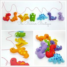 Sew your own DINOSAUR garland (inc stuffing) - The Supermums Craft Fair