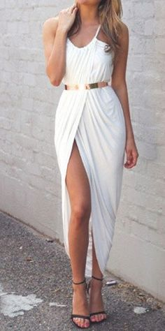 Front Split White Dress with Gold Belt  This is gorgeous!! Maybe a simple wedding dress... For a backyard wedding