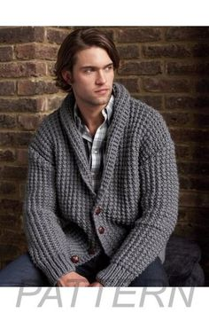 Crochet Cardigan Debbie Bliss Broken Rib Cardigan Pattern from Alpaca Direct - Requires yards super bulky weight yarn. Pair each (US and (US needles Sized to fit chest. Mens Knitted Cardigan, Crochet Cardigan Pattern, Men Sweater, Men Cardigan, Black Cardigan, Male Sweaters, Crochet Men, Knitting Patterns Boys, Black Crochet Dress