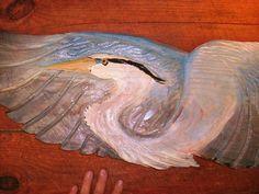 """Flying Blue Heron 36"""" chainsaw wood heron carving wild bird sculpture home patio beach house nautical cottage decor coastal living wall art by oceanarts10 on Etsy"""