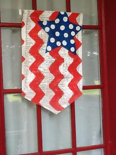 Burlap American Flag with Chevron Stripe Pattern and Polkadots Garden Flag or Doorhanger on Etsy, $18.00