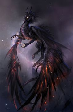 Ruthenium/ Void dragon, having suppressed/ destroyed another's power (kirin by sandara on DeviantArt) Mythical Creatures Art, Mythological Creatures, Magical Creatures, Dark Creatures, Fantasy Kunst, Fantasy Art, Space Fantasy, Cool Dragons, How To Draw Dragons