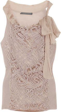 So Lovely...#ALBERTA #FERRETTI Patterned-overlay Silk Top