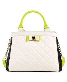 Make your outfit pop with Betsey Johnson's fabulous color-splashed satchel, designed in supple quilted faux leather with a divided interior and two chic ways to carry. | Faux leather | Imported | 4-1/