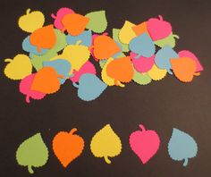 Neon Leaf Confetti/Scrapbook Cut OutsSet of by coolcraftsandmore, $3.50