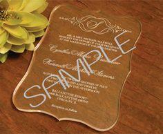 Clear Acrylic Wedding Invitation Sample