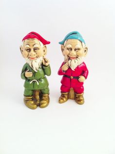 Cute Vintage Gnome Figurines Red Green Gnomes Made in by Comforte, $12.00