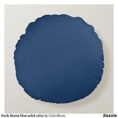 Dark denim blue solid color round pillow Navy Blue Pillows, Blue Cushions, Blue Throw Pillows, Soft Pillows, Grey Pillows, Blue Living Room Decor, Blue Home Decor, Coastal Decor, Living Room Cushions