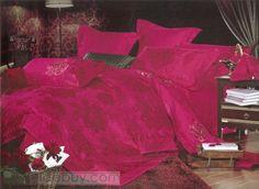 ゴージャスローズ-レッドフラワーステインドリル4点寝具セット