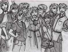 """ritta1310: """"A Weasleys sketch from their trip to Egypt. (Charlie, Bill, Ron, Percy, Molly, Arthur, Ginny George and Fred) More of my art here - tumblr and deviantart """""""