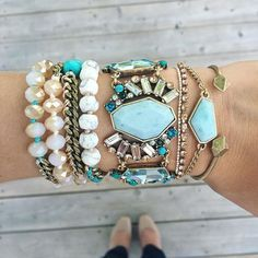 Arm candy!!!  Make a beautiful statement with this collection of aquamarine bracelets.  Shop with me: https://www.chloeandisabel.com/boutique/trulyyou