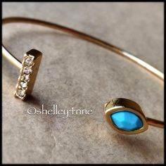 NEW Gold Pavé Bar & Turquoise Stone Cuff NEW | a delicate cuff with a statement featuring  clear crystal pavé & a lovely turquoise stone | 14k gold plated brass | perfect for layering! Jules Smith Jewelry Bracelets
