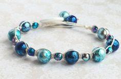 Shades of blue hemp bracelet by OnTheWireByMaryJane on Etsy, $20.00