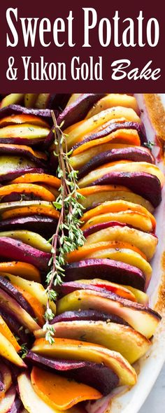 sweet potatoes and yukon gold potatoes on a bed of caramelized onions ...