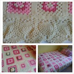 Granny Square Blanket w/ Pineapple Stitch Border