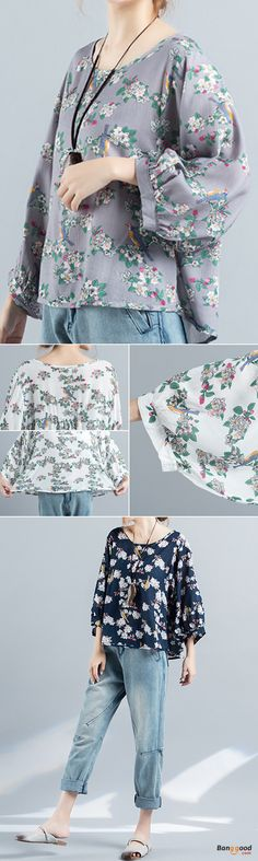US$21.59 + Free shipping. Size: M~2XL. Color: White, Gray, Blue. Fall in love with casual and vintage style! Plus Size Casual Women Half Sleeve Loose Floral Printed T-Shirts.