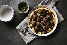 Veal and pork meatballs with polenta and mushroom