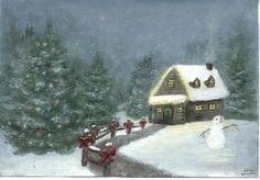 Christmas Cabin Painting Holiday Seasonal by ArtworkByErinn