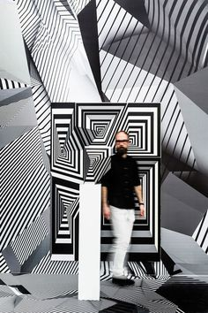 Monochrome graphics create optical illusions at Tobias Rehberger's solo exhibition Art Optical, Optical Illusions, Tobias Rehberger, Instalation Art, Illusion Art, Mirror Illusion, Abstract Geometric Art, Kinetic Art, Home And Away