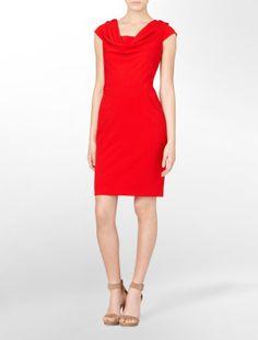 Red dress: matte woven cowlneck dress -Calvin Klein