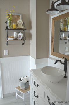 paint color, which is Smokestack by Behr.      Farmhouse Master Bathroom Makeover