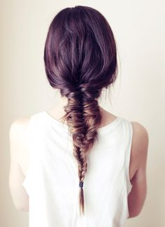 Back View of Fishbone Braid Hairstyle for Girls